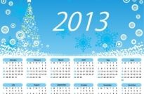 Calendar 2013 Merry Christmas Free vector 1.24MB