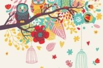 Free vector Vector background  Cartoon bird card background
