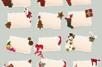 Cartoon christmas elements label 01 vector Free vector 3.20MB