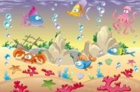 Free vector Vector background  Cartoon marine animals vector background