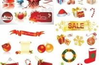 Christmas decorative elements vector Free vector 4.72MB