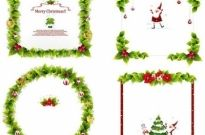 Christmas frames collection green leaves and symbols decoration Free vector 6.17MB