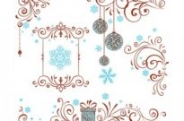 Free vector Vector floral  Christmas Ornate Swirl