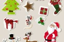 Free vector Vector Christmas  christmas stickers element 01 vector