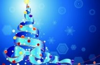 Christmas tree by a Ribbon on blue background Free vector 1.01MB