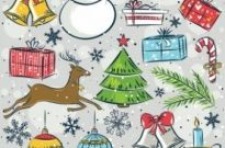 Free vector Vector Christmas  christmas vector cute handpainted items