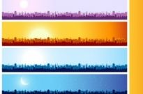 Free vector Vector banner  city silhouette banner vector background