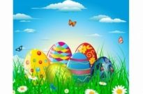 Free vector Vector misc  Colorful easter eggs in grass and flowers