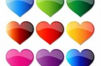Free vector Vector Heart  Colorful Glass Hearts