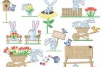 Free vector Vector misc  cute bunny easter eggs vector 2