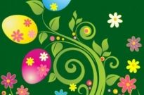 Free vector Vector floral  Easter Egg with Green Floral Vector Illustration