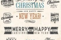 Free vector merry christmas and new year calligraphic set Free vector 3.51MB