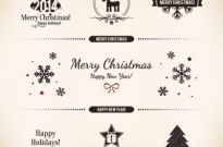 Free vector merry christmas logo design elements Free vector 634.66KB
