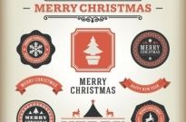 Free vector merry christmas ribbon banner and labels set Free vector 852.35KB