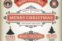 Free vector merry christmas vintage design elements Free vector 793.91KB