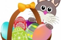 Free vector Vector clip art  Funny bunny face with Easter eggs in a basket