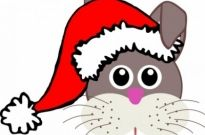 Free vector Vector clip art  Funny bunny face with Santa Claus hat