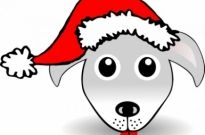 Free vector Vector clip art  Funny Dog Face Grey Cartoon with Santa Claus hat