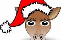 Free vector Vector clip art  Funny Giraffe Face Cartoon with Santa Claus hat