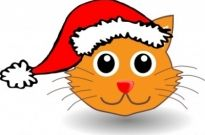 Free vector Vector clip art  Funny kitty face with Santa Claus hat