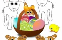 Free vector Vector clip art  Funny lambs, bunnies and chick with Easter eggs in a basket