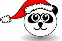 Free vector Vector clip art  Funny panda face black and white with Santa Claus hat