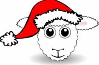 Free vector Vector clip art  Funny Sheep Face White Cartoon with Santa Claus hat