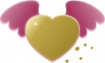 Free vector Vector clip art  Gold Heart With Pink Wings clip art