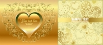 Free vector Vector background  gold heartshaped vector background