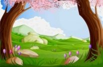 Free vector Vector background  Green Cartoon Landscapes Vector Background