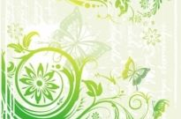 Free vector Vector floral  Green Floral and Butterflies Vector Illustration