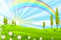 Free vector Vector background  Green Grass Rainbow Vector Background