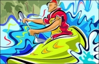 Free psd People PSD file  Hand-painted figures illustrations (canoeing Movement)