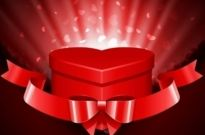 Free vector Vector background  Heart Gift Present with Fly Hearts Valentine's Day Background
