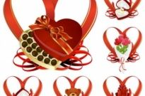 Free vector Vector Heart  heartshaped ribbon with a gift vector