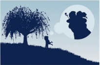 Free vector Vector Silhouettes  large trees couple silhouette vector