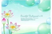 Free vector Vector background  lotus and water bubbles background vector