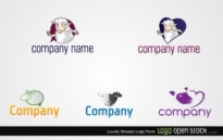 Free vector Vector logo  Lovely Sheeps Logo Pack
