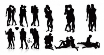 Free vector Vector Silhouettes  male and female black and white silhouette vector