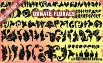 Free vector Vector Silhouettes  Ornate Vector Florals