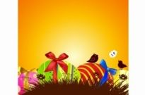 Free vector Vector misc  Painted Easter Eggs with ribbons and birds
