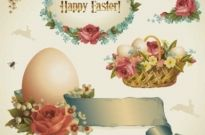 Free vector Vector background  Pastoral style Easter design elements
