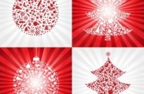 Red christmas ball with christmas tree – vector Free vector 3.68MB