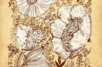 Free vector Vector background  Retro hand-painted flowers vector background12