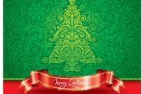 Retro style christmas tree wallpaper with red ribbon banner vector Free vector 434.22KB