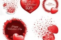 Free vector Vector Heart  romantic valentine day cards vector