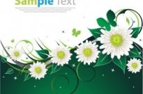 Free vector Vector background  Spring Flower Green Background