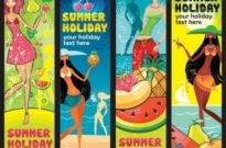 Free vector Vector banner  summer female fruit theme banner vector