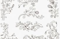 Swirl Floral Decorative Elements Vector Graphic Set Free vector 1.04MB