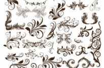 Free vector Vector floral  Swirl Floral Element Vector Illustration